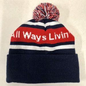 All Ways Livin Red White Blue Pom Pom Beanie Hat❄️